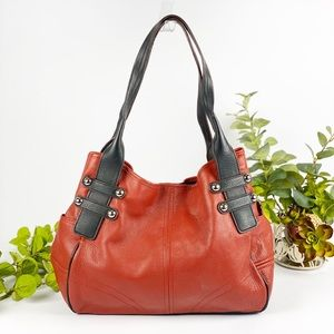 Tignanello Red Hobo Leather Handbag Tote Shoulder